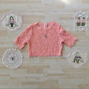 Pinkblush Peach Fringed Lace Maternity Crop Top L